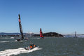 Team oracle racing on the san francisco bay with chase boat preparing for the americas cup race Royalty Free Stock Image