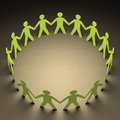 Team paper people forming a circle of union your text on center Royalty Free Stock Images