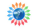 Team of people arround Earth Stock Photography