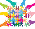 Team play with puzzle pieces colorful corporate strategy and cooperation Royalty Free Stock Images