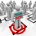 Team player targeted in organizational org chart teamwork a worker marked is identified as one of the best people an and stands on Stock Photo