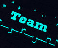 Team puzzle showing partnership together community and unity shows Stock Images