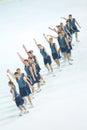 Team skating graces i linjen Royaltyfria Bilder