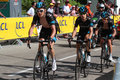 Team sky during tour de france chamrousse july runners lead australian champion ritchie porte in chamrousse stage of Royalty Free Stock Images