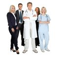 Team of smiling working people isolated over white Royalty Free Stock Images