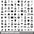 100 team spirit icons set, simple style