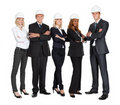 Team of successful construction workers on white Stock Photos