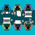 Team teamwork business meeting concept estilo plano negocio de infographics vector Fotos de archivo
