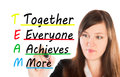 Team together everyone achieve more writing Royalty Free Stock Images