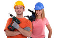 A team of tradespeople young Royalty Free Stock Images