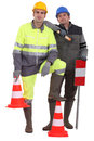 A team of traffic guards with cones Royalty Free Stock Photography