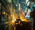 Team welding Robot Royalty Free Stock Photo
