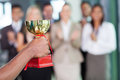 Team winning trophy business a Royalty Free Stock Images