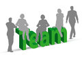 Team word in d with people eps vector of Stock Photos