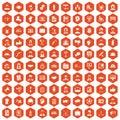 100 team work icons hexagon orange