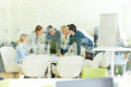 Team working together in office during a meeting Royalty Free Stock Photo