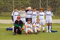 Team of young soccer players of bsc schwalbach germany may football game children e class may in germany Stock Photo