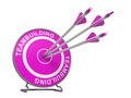 Teambuilding business background three arrows hitting the center of a pink target where is written word d render Royalty Free Stock Image