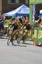 Teammates boost friedman to overall title in stillwater minnesota june teamwork boosts pro cyclist michael yellow jersey the Royalty Free Stock Image