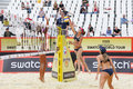 Teams from brazil play volleyball moscow june in country quota at tournament grand slam of beach on june in moscow Stock Photography