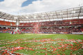 Teams and shiny ribbons on grass moscow september after farewell match of yegor titov september in moscow russia Royalty Free Stock Photos