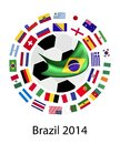 The teams in world cup brazil an illustration of flags of nations around a soccer ball of of football brazil Royalty Free Stock Image