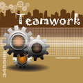 Teamwork abstract colorful background with three brown gears concept Royalty Free Stock Image