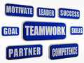 Teamwork blue business concept text in d banners with words Stock Photos