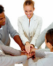 Teamwork - business people putting hands together Stock Photo