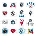 Teamwork business team and cooperation icons set