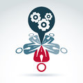 Teamwork and business team with gears and cogs icon Royalty Free Stock Photo