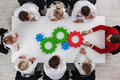 Teamwork with cogs of business Royalty Free Stock Photo