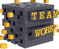 Teamwork concept black cube assembly d render of a being assembled symbolizing each letter of the word is sectioned in pieces and Stock Photos