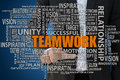 Teamwork concept businessman pointing key word for business Stock Images