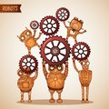 Teamwork concept with cogs and gears Royalty Free Stock Photo