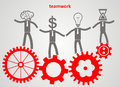 Teamwork concept. gears and businessman