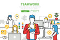Teamwork concept team office vector flat line art infographics icons modern website illustration hero image web banner lineart Stock Photography