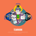 Teamwork concept. Top view workspace background Royalty Free Stock Photo