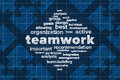 Teamwork concept with word cloud and puzzle pieces sketched abstract Royalty Free Stock Photo