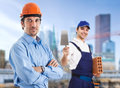 Teamwork in a construction site Royalty Free Stock Photos
