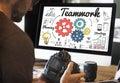 Teamwork coordination creative information concept planning strategy Stock Photos