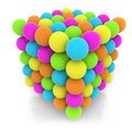 Teamwork and creativit concept cubic structure made of colorful spheres on white background Stock Image