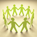 Teamwork cutout paper people forming a circle of union Royalty Free Stock Photography