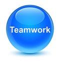 Teamwork glassy cyan blue round button
