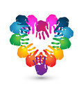 Teamwork hands heart shape logo together for love design Stock Photography
