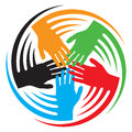 Teamwork hands icon together connecting symbol people connected Stock Images
