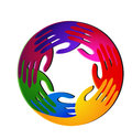 Teamwork hands vivid colors and diversity logo Royalty Free Stock Photo