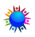 Teamwork happy people around world logo Royalty Free Stock Photography