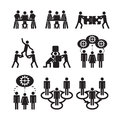 Teamwork icons set of eps Royalty Free Stock Photography