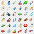 Teamwork icons set, isometric style Royalty Free Stock Photo
